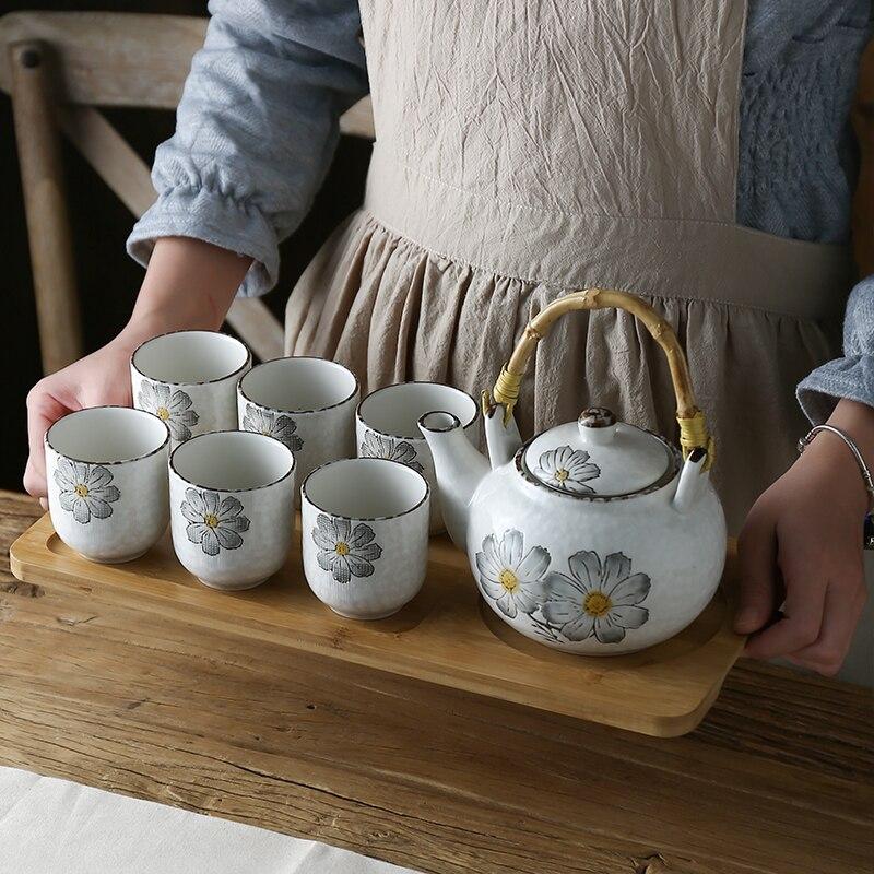 النمط الياباني الفخار سعة كبيرة رسمت باليد مجموعة براريد للشاي الكونغفو الشاي السيراميك بعد الظهر براد شاي كوب علبة خيزران