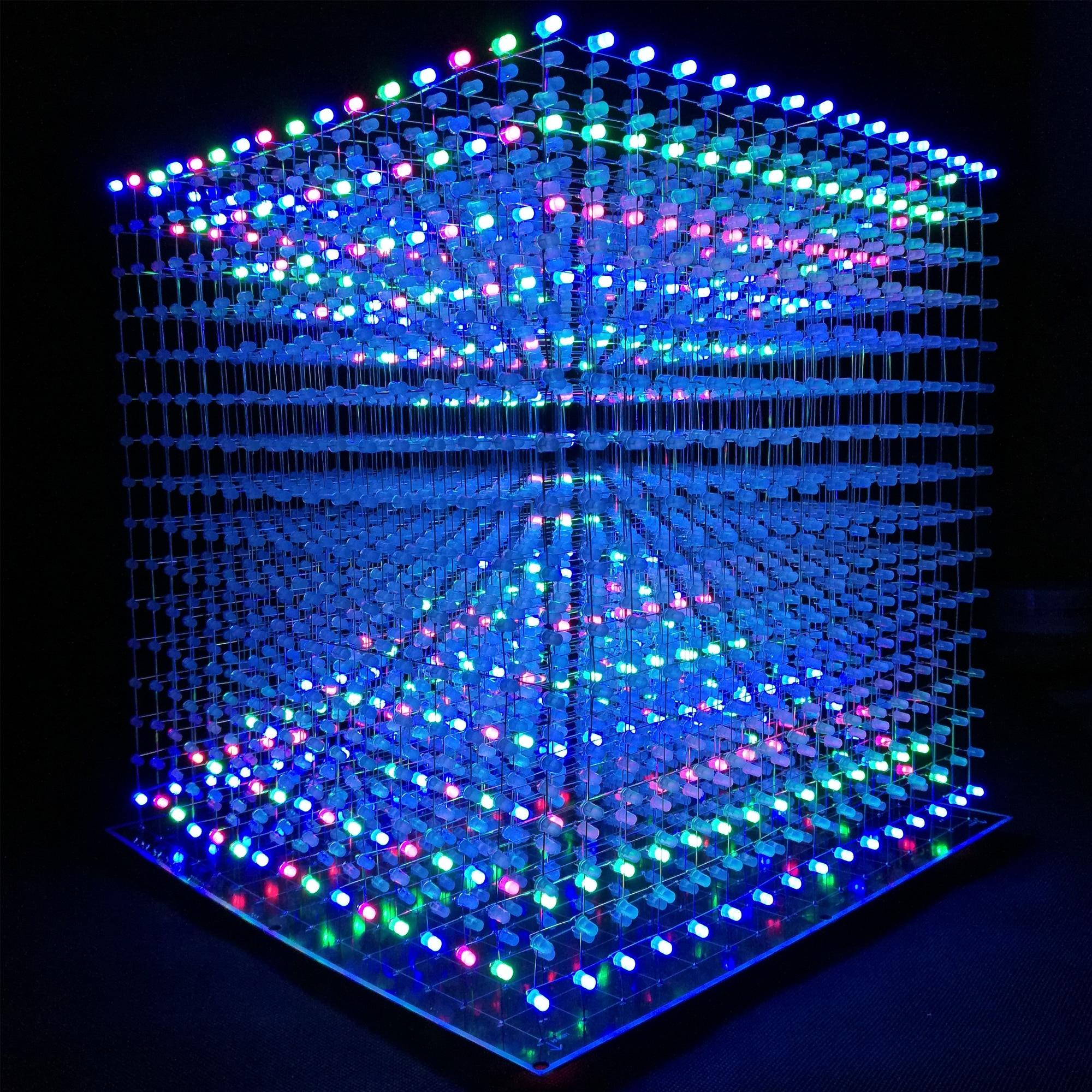 iCubeSmart 3D Led Cube Kit Diy Soldering Project 16x16x16 Led Light Cube Diy Electronic Kits Programmable Soldering Learning Kit