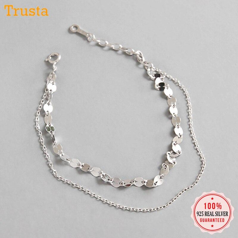 Trustdavis 100% 925 sólido real prata esterlina jóias femininas dupla camada lantejoulas pulseira para meninas feminino senhora presente da98