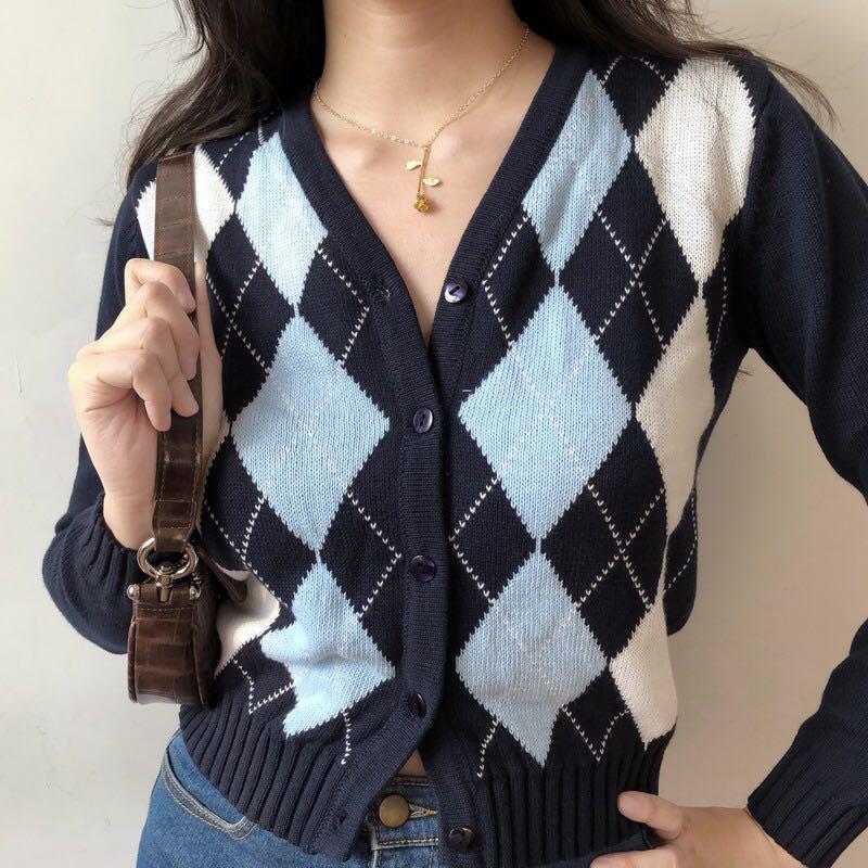 Cárdigan geométrico rombo con cuello en V de manga larga abrigo corto cárdigan tejido abrigo de mujer