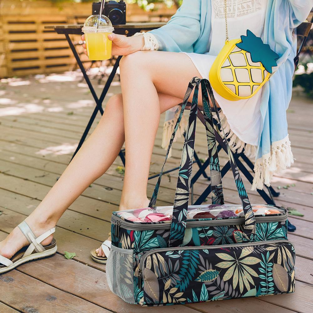 2020 Yarn Storage Bag With Maple Leaves Knitting Tote Bag Orange Square Bag for Thread Wool Yarn Crochet Hooks Knitting Needles