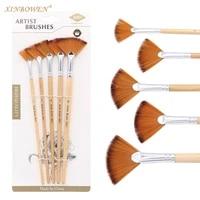 fan shaped watercolor paint brushs set for school nylon hair gouache painting drawing brush makeup 5pcsset