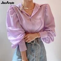 womens spring autumn graceful purple shirts 2021 korean chic fashion long lantern sleeve blouse office lady casual loose tops