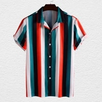 men stand up collar hawaiian style shirt breathable polyester fiber loose blouse button closure thin t shirt for daily life
