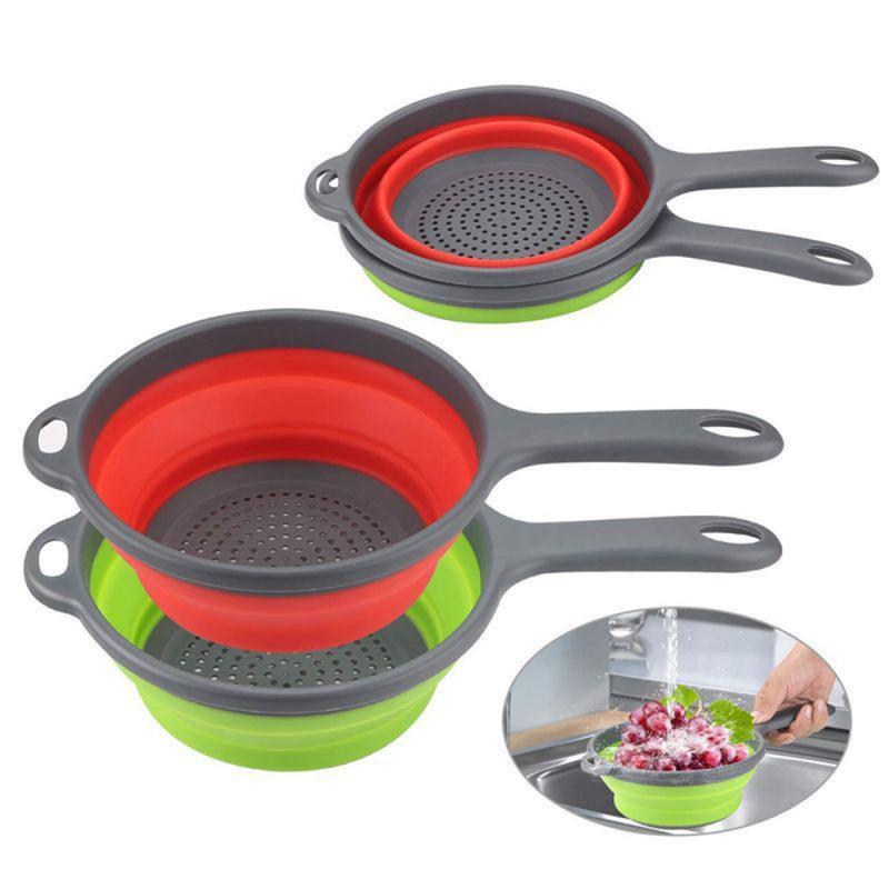 Colador plegable con asa, cesta de drenaje de plástico de silicona, colador de lavado de frutas y verduras, escurridor, accesorios de cocina