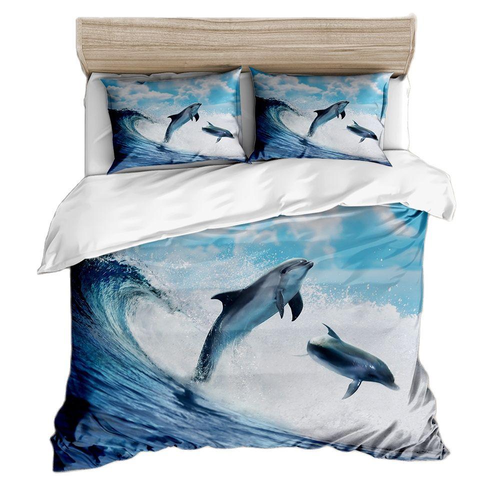 حاف وغطاء وسادة غطاء سرير مع طباعة ثلاثية الأبعاد والبياضات الغامقة الحياة البحرية نمط دولفين السلاحف المحيط موضوع المفارش