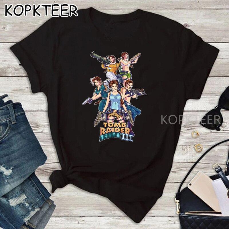 Tomb Raider 3 2020 verano Harajuku moda mujer camisetas divertidas impresión camiseta mujer Top camisetas swomens