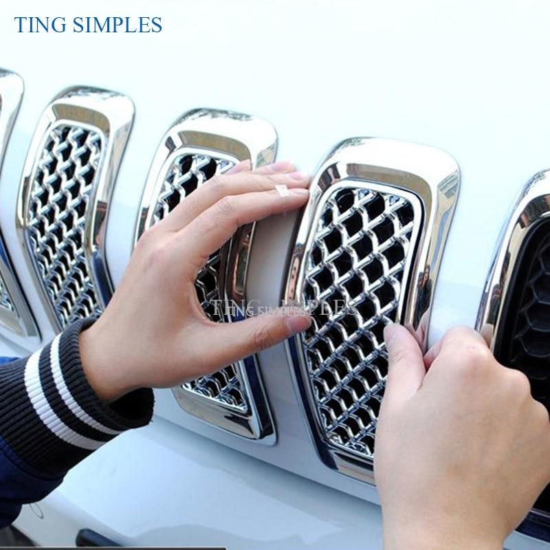 ملصق سيارة جيب شيروكي 2014 2015 2016 2017 2018 ، داخل السيارة ، شبكة أمامية ، قرص العسل ، زخرفة الشبكة ، ملصق ABS ، كروم
