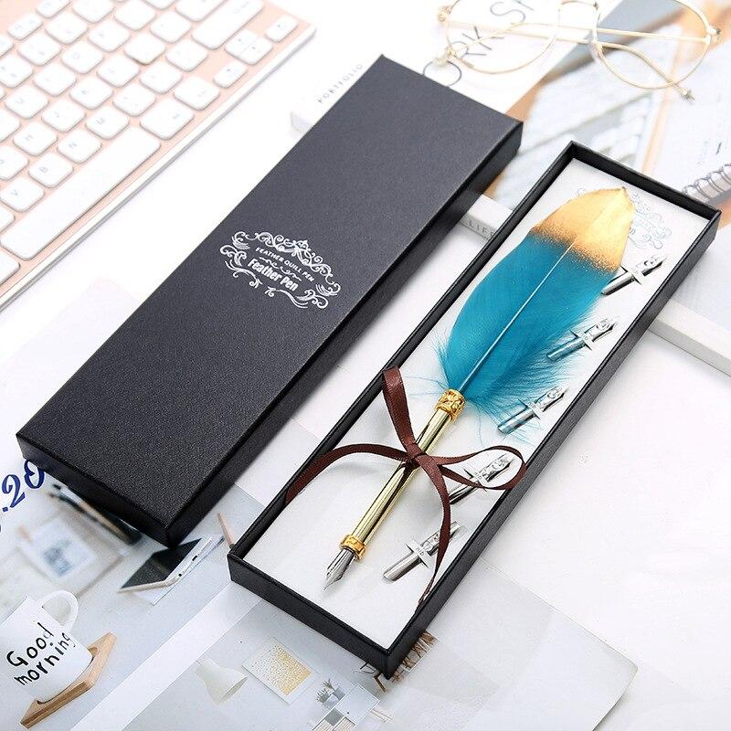 Aesthete pluma de aerosol de oro pluma de inmersión de belleza pluma estilográfica de regalo de lujo papelería de tapa dura regalo