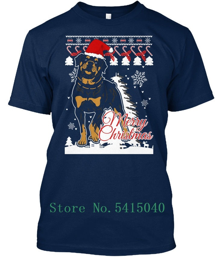 Gran oferta 2019 Camiseta de algodón Rottweiler Dog sudadera de Navidad-Feliz S-3xl estándar camiseta Unisex