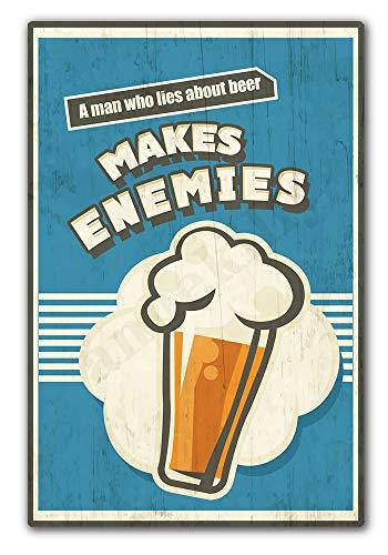 Мужчина, который лёт о пиве делает врагов, Ретро винтажный металлический жестяной знак, домашняя кухня, спальня, гостиница, ресторан, настен...