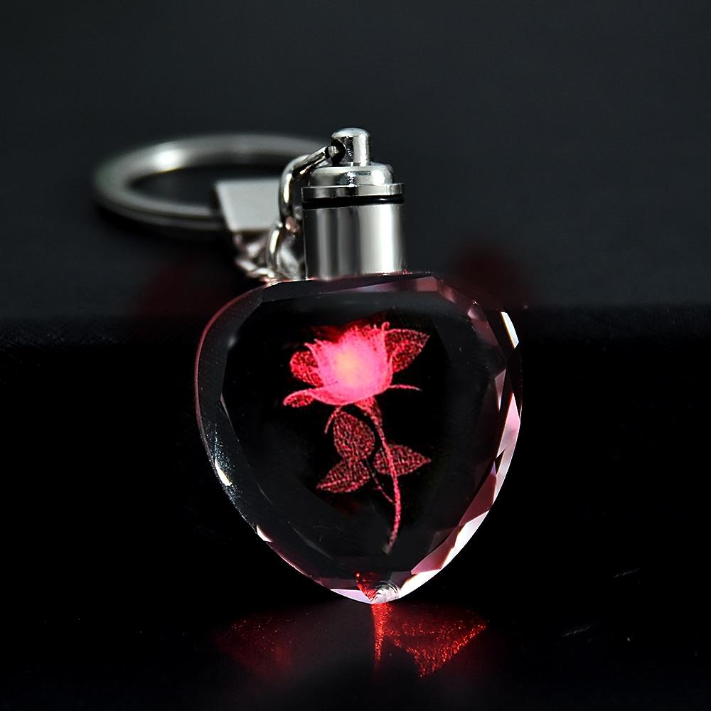 New Fairy Crystal Rose LED Light Keychain Love Heart Key Chain Ring Keyring For Gift