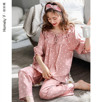 Pajamas Women's Spring Summer Pure Cotton 3/4 Sleeve Long Sleeve Home Wear Spring and Autumn Thin Cute Suit