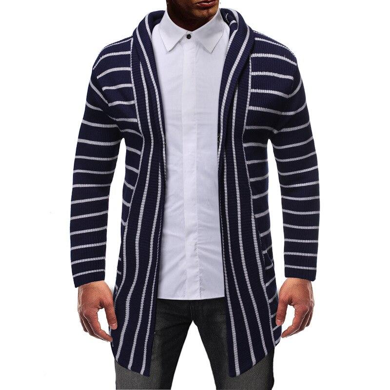 Длинные Полосатые кардиганы в 2021, мужская одежда из ниток, повседневная одежда для мужчин, надела длинную одежду