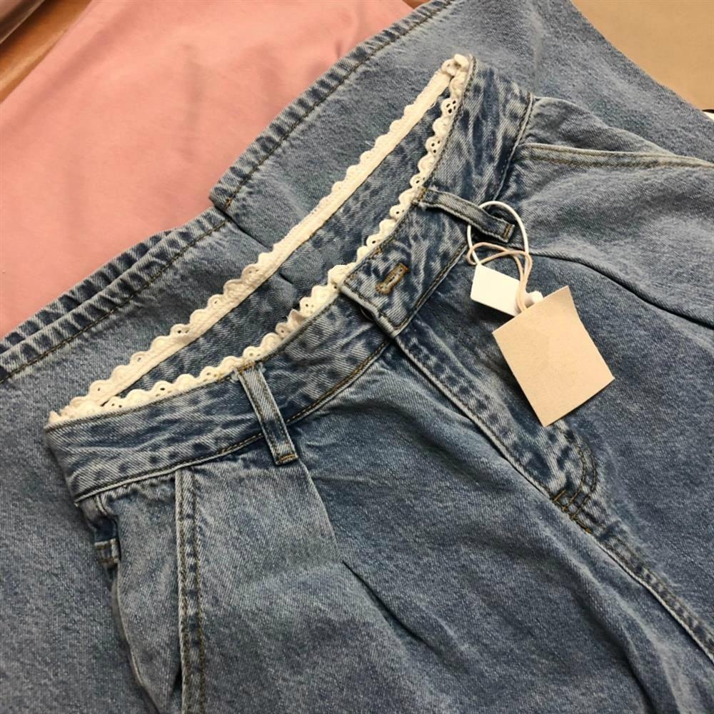 Pantalones vaqueros de cintura alta con borde de encaje para otoño 2020, Pantalones anchos sueltos, Pantalones rectos estéticos, pantalones vaqueros holgados Acampanados para mujer