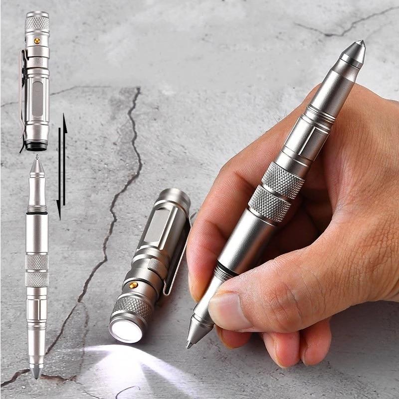 Self-defense Tactical Pen Outdoor Emergency Flashlight Broken Window Tungsten Pen Head Emergency Writing Self-defense Equipment