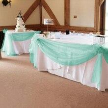 Tissu Organza vert menthe 1000CM * 135CM   Jupe de table, décoration de mariage pour événement, livraison gratuite