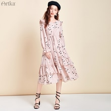 ARTKA 2020 Spring New Women Dress Elegant Dot Print Chiffon Dresses Irregular Ruffles Elastic Waist Long Dress Women LA25004C