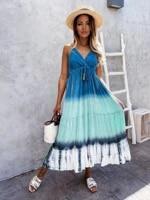 2021 summer new fashion sleeveless retro bohemian long dress halter beach dress womens