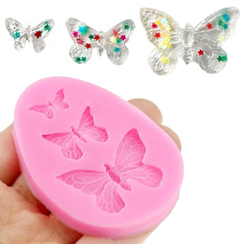 Силиконовые 3D формы в виде бабочки, аксессуары для выпечки, «сделай сам», формы для шоколада, помадки, украшения торта, инструмент для свадеб...