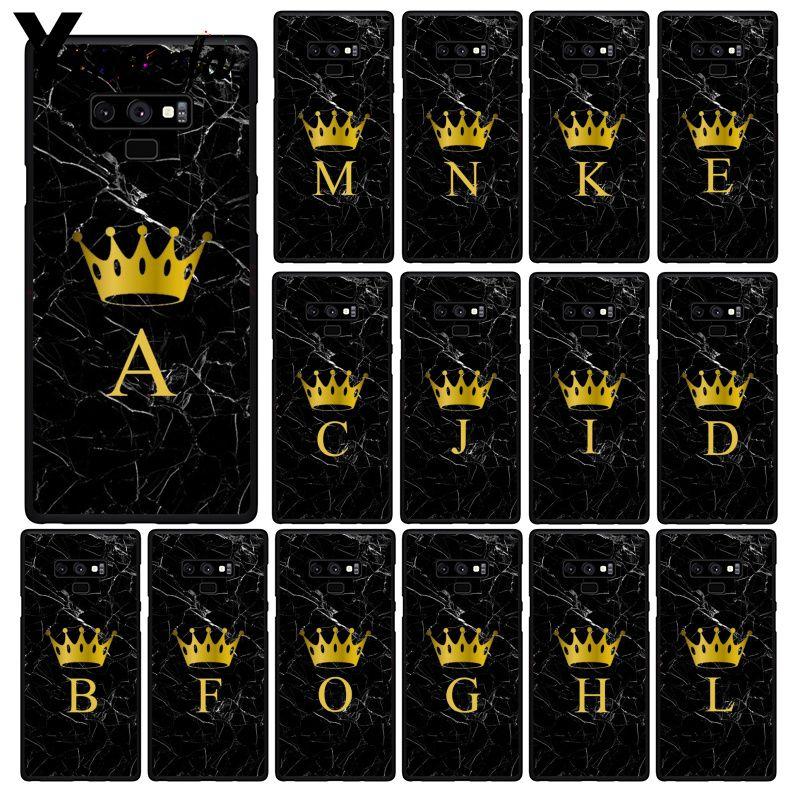 Yinuoda Custom name Letter Monogram Black Marble Gold crown Phone Case For Samsung Galaxy Note7 8 9 5 10 Pro A50 J5 J6 Prime J7