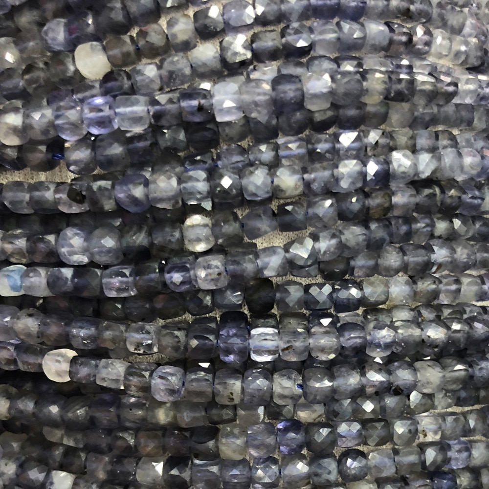 Natural Stone Iolite Beaded Square Cube Cordierite Loose Beads for Jewelry Making DIY Crafts Necklace Bracelet Accessories 14''  - buy with discount