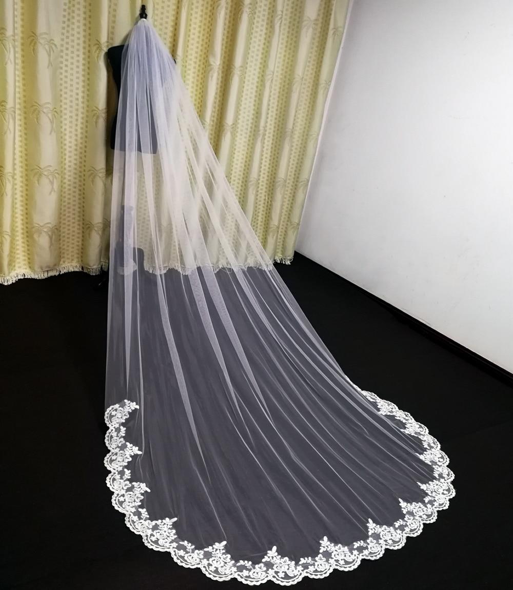 3 Meter Cathedral Wedding Veils Long Lace Edge Bridal Veil with Comb Wedding Accessories Bride Mantilla Wedding Veil