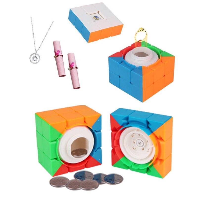 ماجيك شكل مكعب صندوق مخفي كائن يختبئ تفرز الحاويات 6.6x6.6x6.6 سنتيمتر مجوهرات حالة الحب هدية تخزين المنزل التخزين المنظم