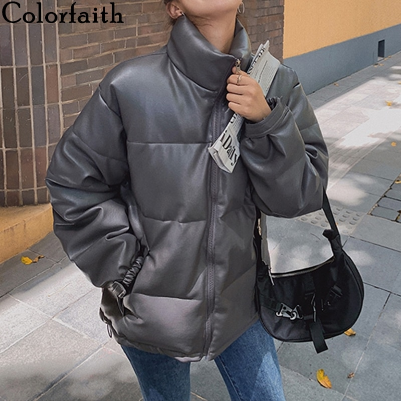 Colorfaith New 2020 Autumn Winter Women Jackets Quilted Puffer Parkas High-Quality Warm PU Leather Oversize Short Coat CO935