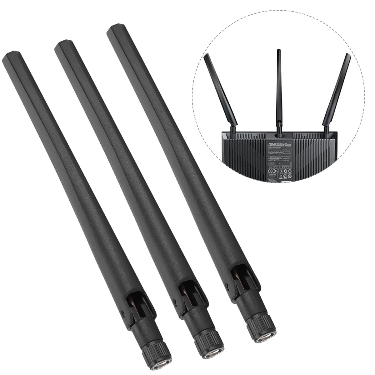 Nueva antena 3 uds Router WiFi tarjeta de red inalámbrica de doble banda antena externa interfaz SMA para ASUS RT-AC68u