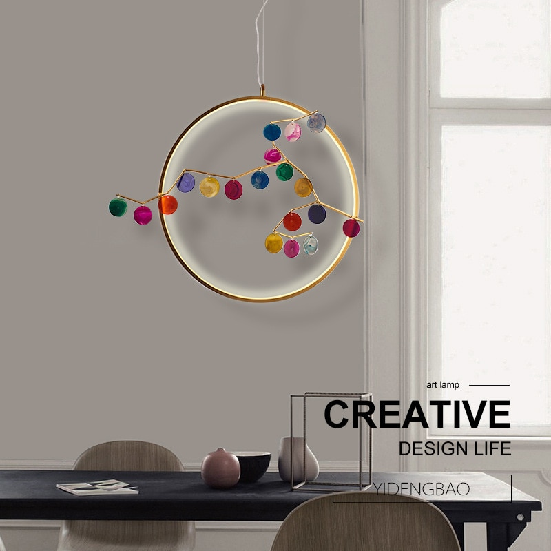 Lámpara colgante nórdica bola de cristal restaurante sala de estar