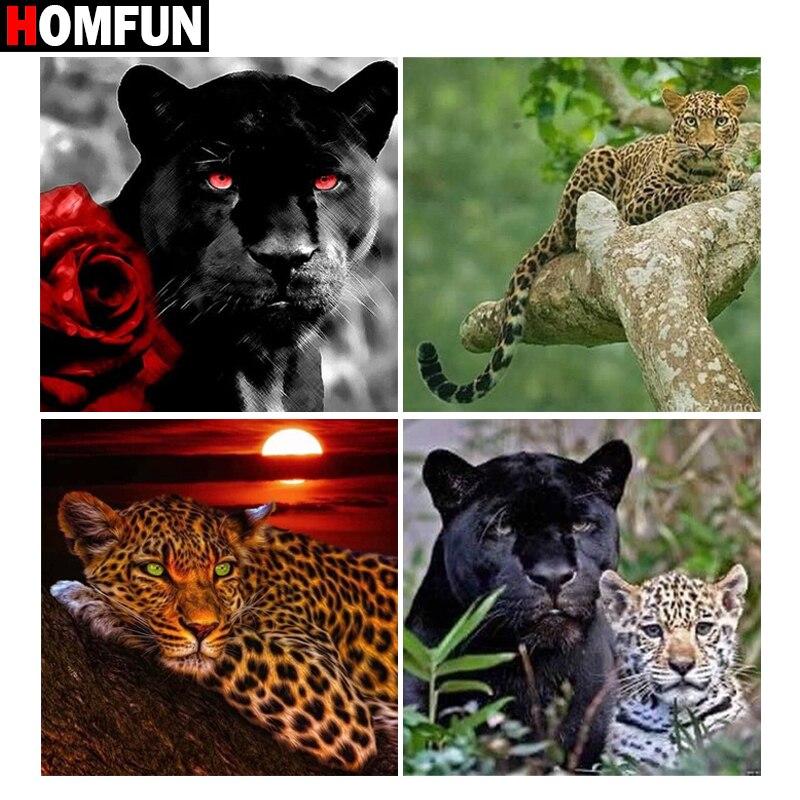 """Homfun quadrado completo/broca redonda 5d diy pintura diamante flor """"animal leopardo"""" 3d bordado ponto cruz 5d casa decoração presente"""