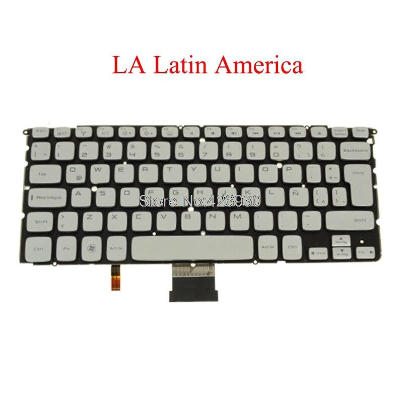 كمبيوتر محمول لا لوحة مفاتيح DELL ل XPS 14Z L412Z P24G 15Z L511Z اللاتينية أمريكا MP-10K86LAJ698 PK130JN1A14 00F4XK 0F4XK الخلفية جديد