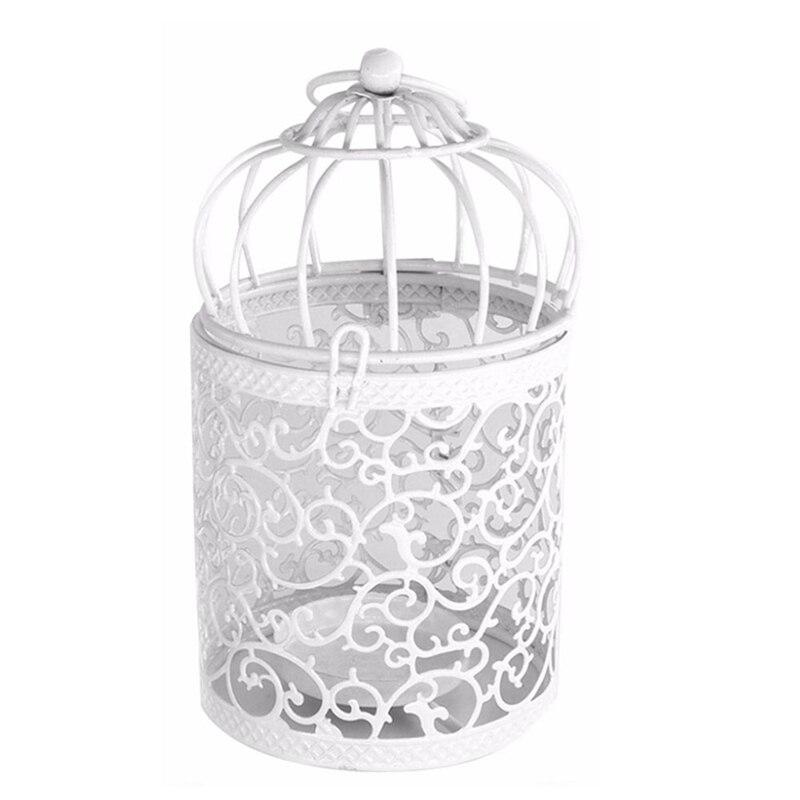 1 pçs branco oco titular castiçal tealight pendurado lanterna gaiola pássaro vintage forjado novo