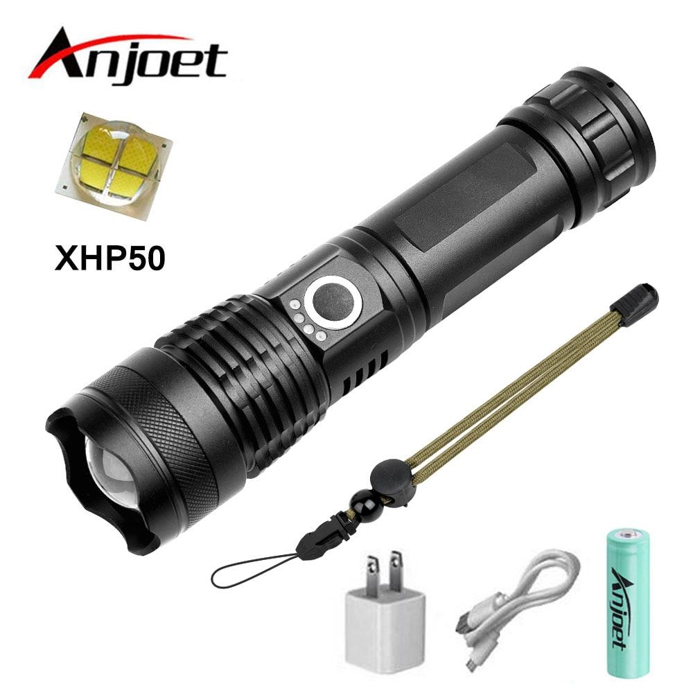 Anjoet xhp50 poderosa lanterna tática usb zoomable luz led tocha 18650 26650 bateria recarregável caça ao ar livre