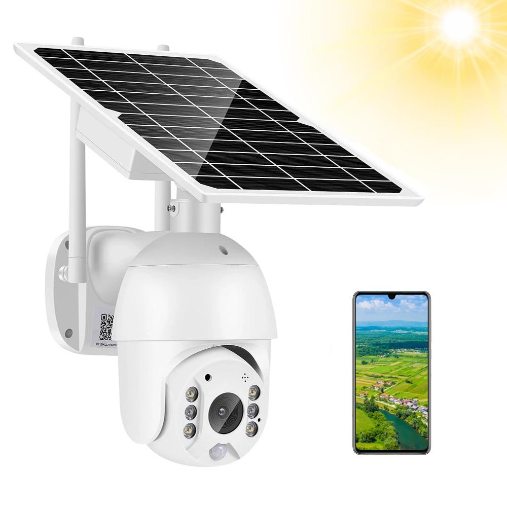 4G بطاقة Sim البطارية الشمسية واي فاي كاميرا 2MP 1080P سرعة كاميرا بشكل قبة عموم إمالة كاميرا IP 360 مراقبة لاسلكية كاميرا متحركة PIR