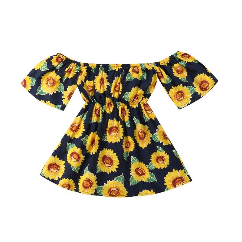 1-6Y Infante niños bebés niñas vestido de verano fuera del hombro girasol A-Line vestido niño vestido de manga corta