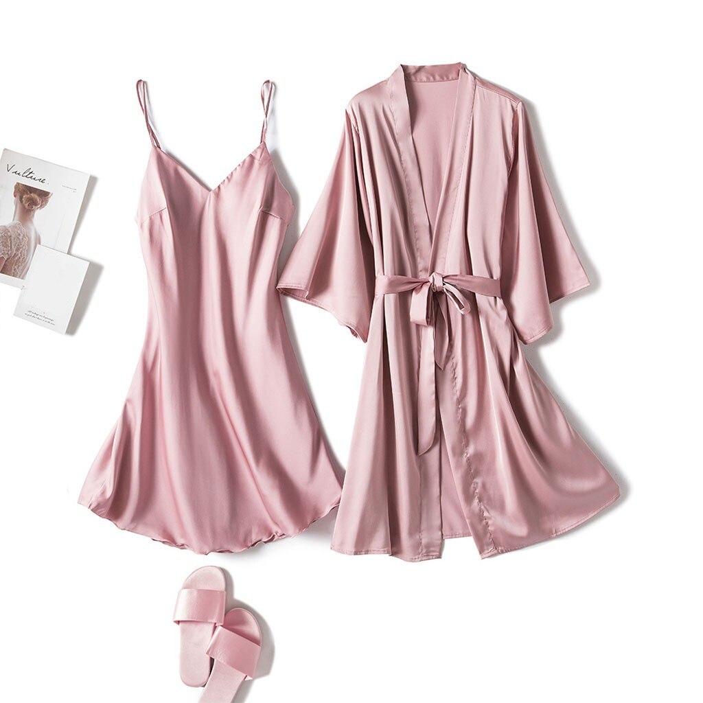 Pijamas femininos 2 peças de cetim pijamas de seda casa usar camisola de cetim de seda de manga longa lounge roupas sexy dormir pijama