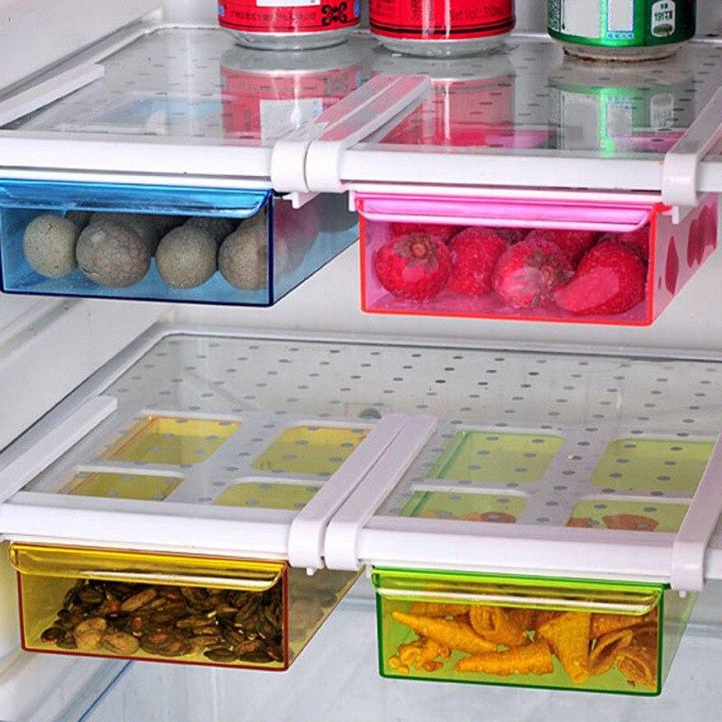 Organizador ahorrador de espacio para nevera, organizador ahorrador de espacio, caja para el frigorífico, estante deslizante, soporte organizador