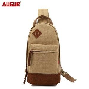 AUGUR Men Vintage Canvas Chest Bag Messenger Bags Small Chest Sling Bag For Male Travel Vintage Crossbody Bag