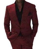 mens houndstooth suits formal notch lapel wooltweed tuxedo for wedding prom blazer best man suits 2 pieces blazerpants