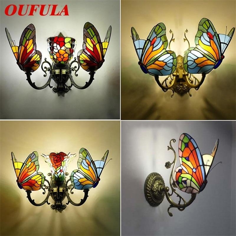 OUFULA تيفاني أضواء الجدار الشمعدانات الحديثة LED فراشة مصابيح تركيبات داخلية للديكور المنزل