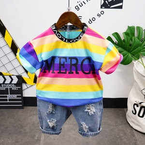 Summer Toddler Baby boys Clothing Sets boys top Rainbow T-shirt Shorts 2pcs Outfits Kids Clothes Fashion Sport Suits 2-7years