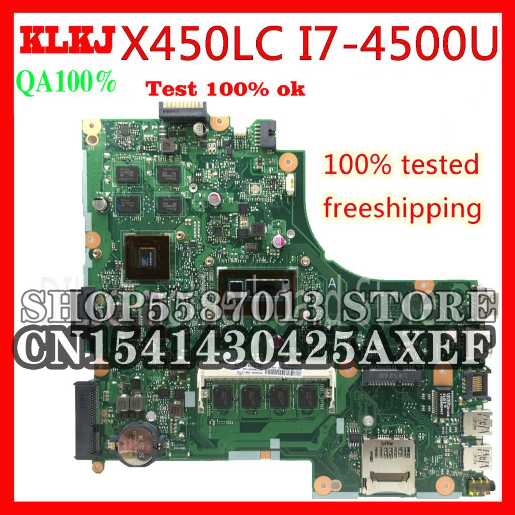 KLKJ X450LD ل ASUS X450LC X450LD X450LB REV2.2 اللوحة المحمول I7-4500U GT840 اختبار العمل 100%