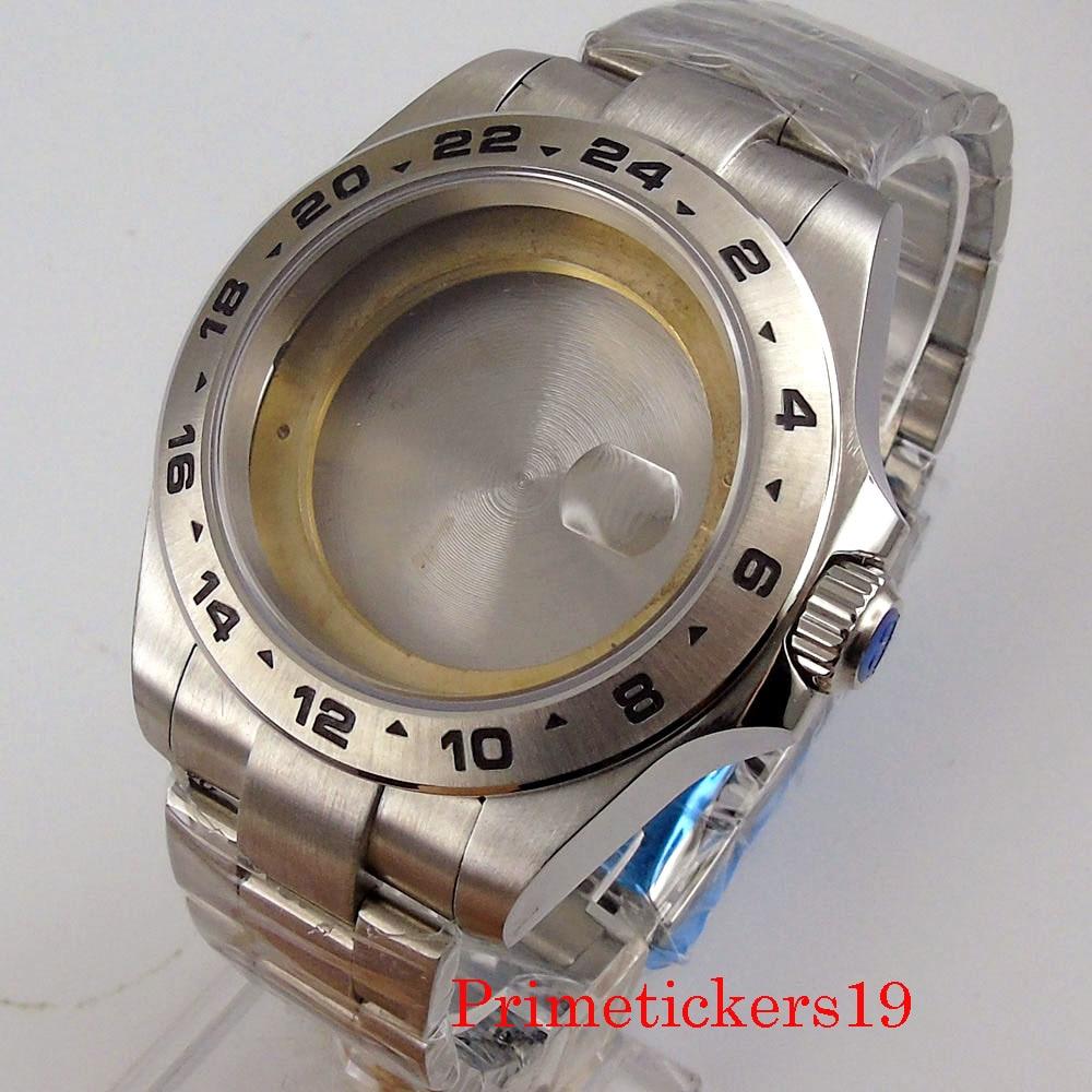 Bliger-علبة ساعة من الفولاذ المقاوم للصدأ 43 مللي متر مع حزام ، لـ MIYOTA 8215 ETA 2824 2836 Mingzhu 2813 ، حركة أوتوماتيكية ، زجاج ياقوتي