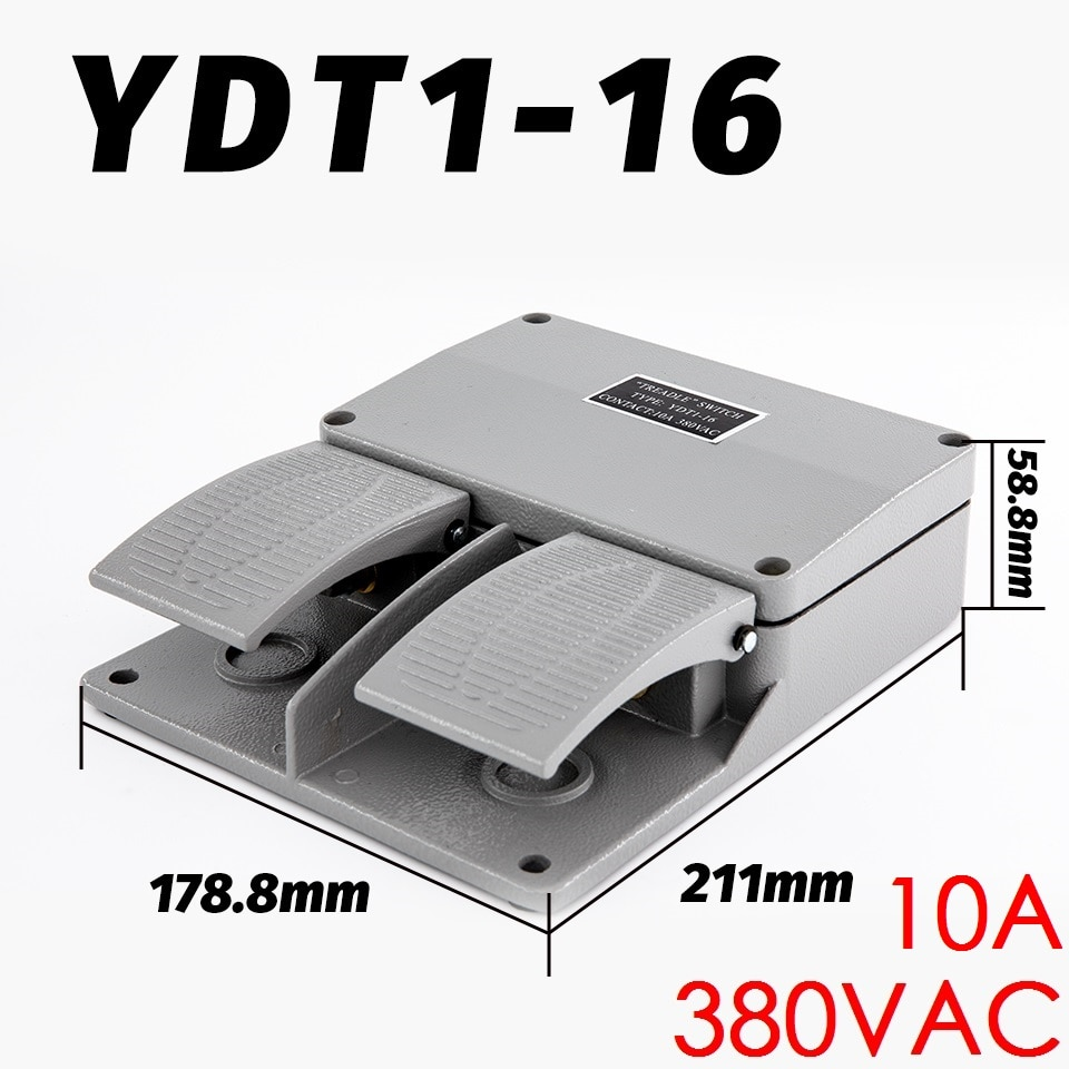 10A 380VAC YDT1-16 المزدوج القدم التبديل حظية دواسة التبديل الفضة الاتصال الألومنيوم قذيفة مزدوجة قدم فقي