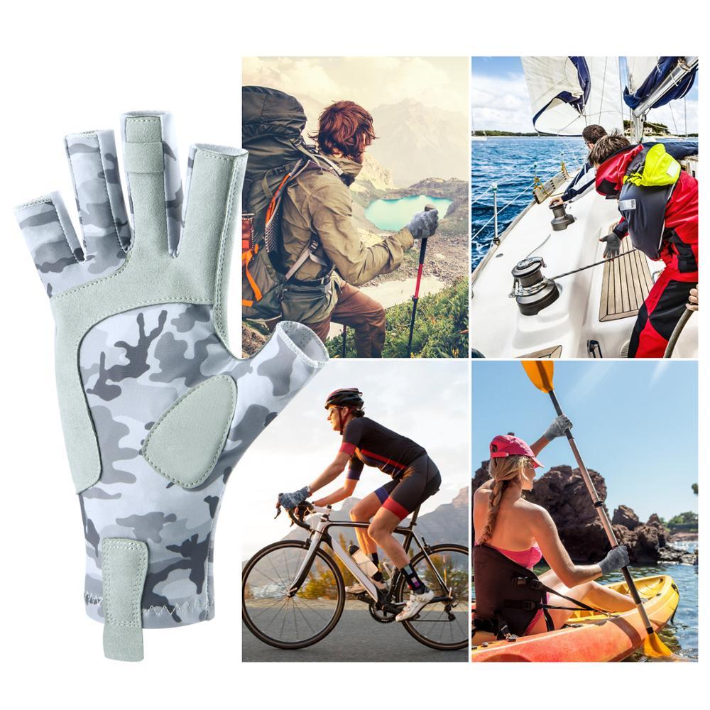 Magreel UV Fishing Gloves for Men & Women UPF 50+ Sun Protection Gloves 3/4 Finger Padded Palm Machine Washable Gloves Sailing
