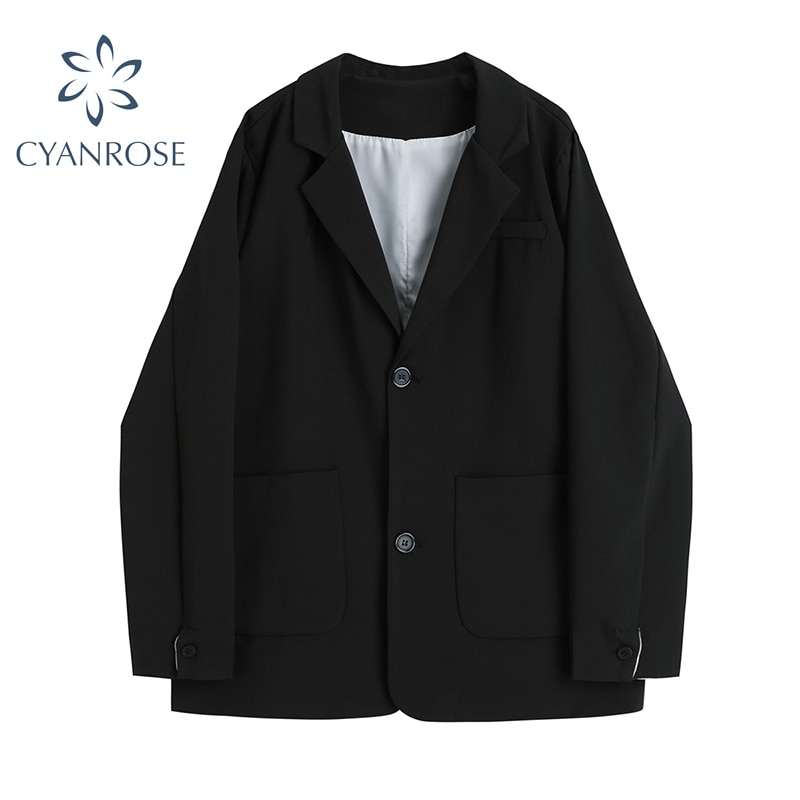 2021 Autumn Women's Black Suit Coats Fashion Vintage BF Blazer Single-Breasted Office Long Sleeve Lo
