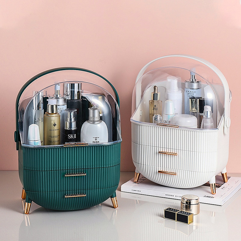 Makeup Storage Box Desktop Dustproof Drawer Type Plastic Jewelry Organizer Box Bathroom Waterproof Beauty Makeup Box Boxes