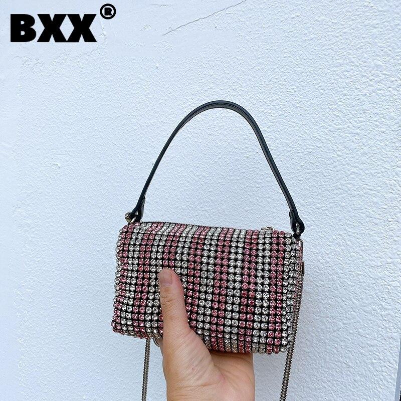 [BXX] Vintage Genuine Leather Contrast Color Bags Women 2021 Fashion Branded Crossbody Hand Bag Lady Trend Handbags Purses CB643